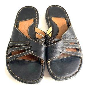 Born Sandals Sz 7 EU 38 Black Open Back Slides